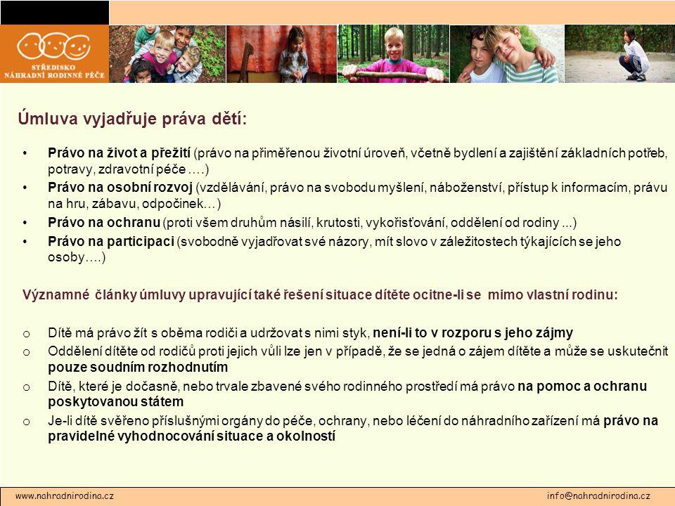 Úmluva vyjadřuje práva dětí: Právo na život a přežití (právo na přiměřenou životní úroveň, včetně bydlení a zajištění základních potřeb, potravy, zdra