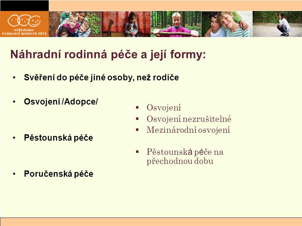 Náhradní rodinná péče a její formy: Svěření do péče jiné osoby, než rodiče Osvojení /Adopce/ Pěstounská péče Poručenská péče  Osvojení  Osvojení nez
