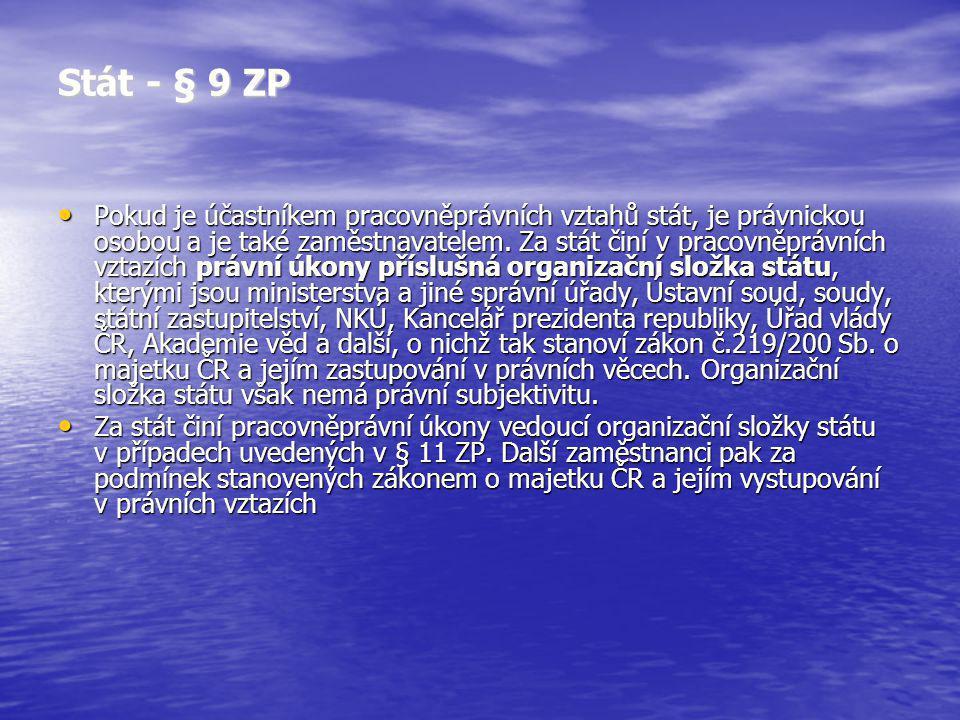Stát - § 9 ZP Pokud je účastníkem pracovněprávních vztahů stát, je právnickou osobou a je také zaměstnavatelem. Za stát činí v pracovněprávních vztazí