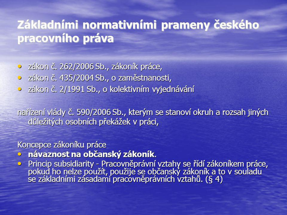 Základními normativními prameny českého pracovního práva zákon č. 262/2006 Sb., zákoník práce, zákon č. 262/2006 Sb., zákoník práce, zákon č. 435/2004
