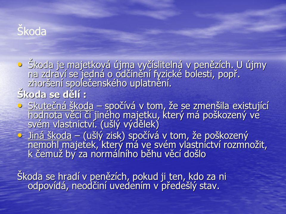 Škoda Škoda je majetková újma vyčíslitelná v penězích. U újmy na zdraví se jedná o odčinění fyzické bolesti, popř. zhoršení společenského uplatnění. Š