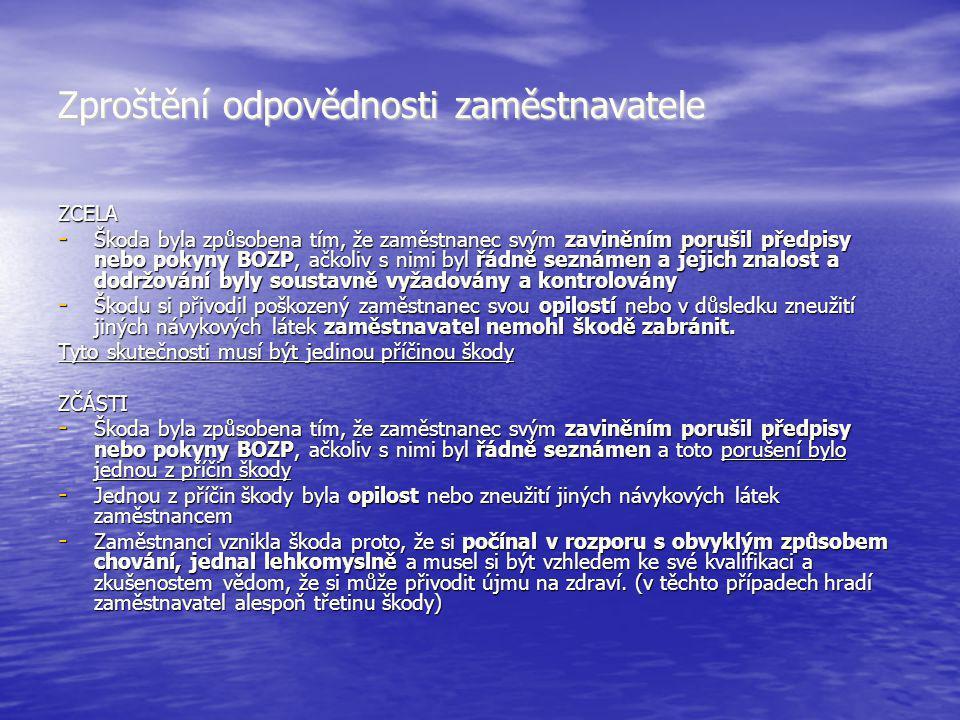 Zproštění odpovědnosti zaměstnavatele ZCELA - Škoda byla způsobena tím, že zaměstnanec svým zaviněním porušil předpisy nebo pokyny BOZP, ačkoliv s nim