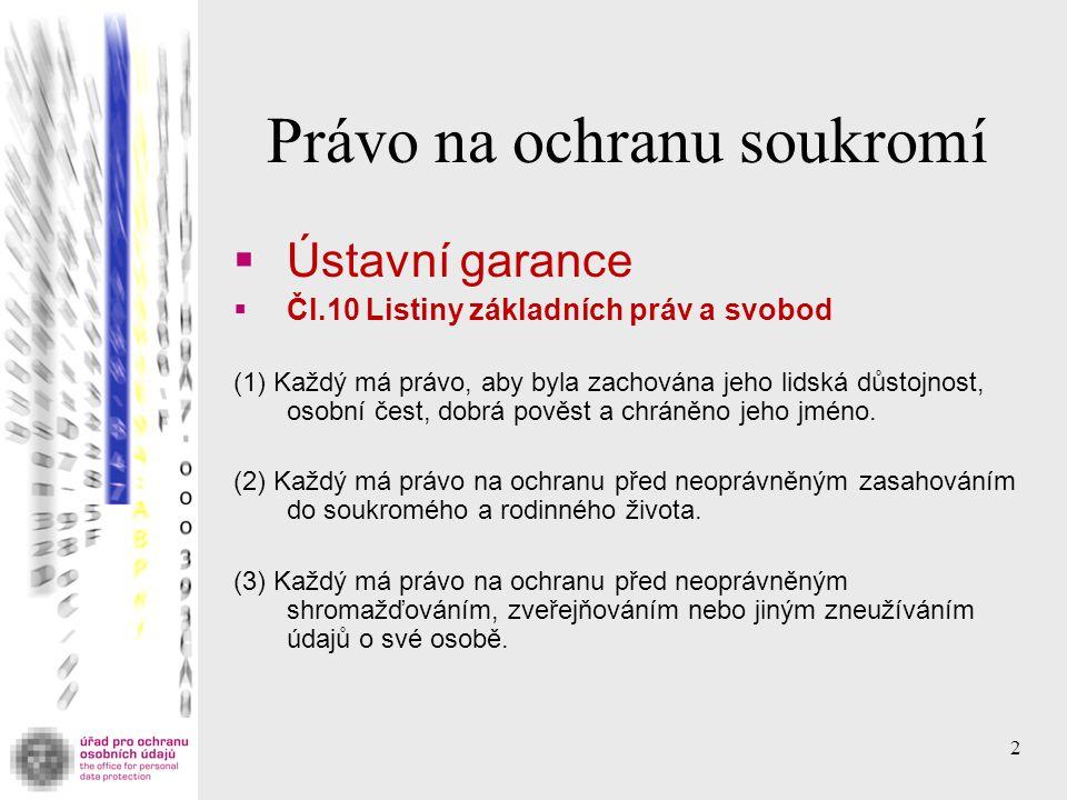 Právo na ochranu soukromí  Ústavní garance  Čl.10 Listiny základních práv a svobod (1) Každý má právo, aby byla zachována jeho lidská důstojnost, os