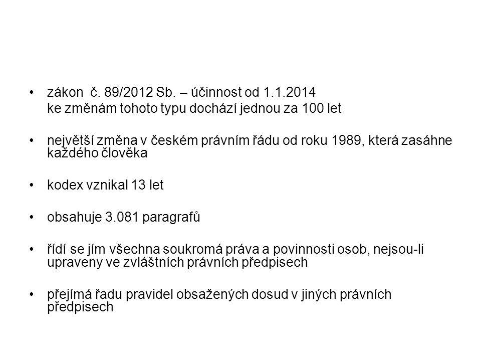 zákon č. 89/2012 Sb. – účinnost od 1.1.2014 ke změnám tohoto typu dochází jednou za 100 let největší změna v českém právním řádu od roku 1989, která z