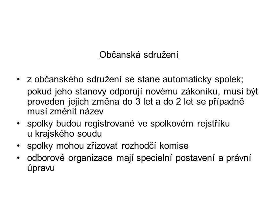 Občanská sdružení z občanského sdružení se stane automaticky spolek; pokud jeho stanovy odporují novému zákoníku, musí být proveden jejich změna do 3