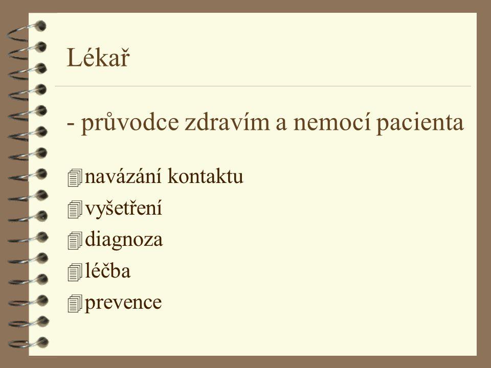 Lékař - průvodce zdravím a nemocí pacienta 4 navázání kontaktu 4 vyšetření 4 diagnoza 4 léčba 4 prevence
