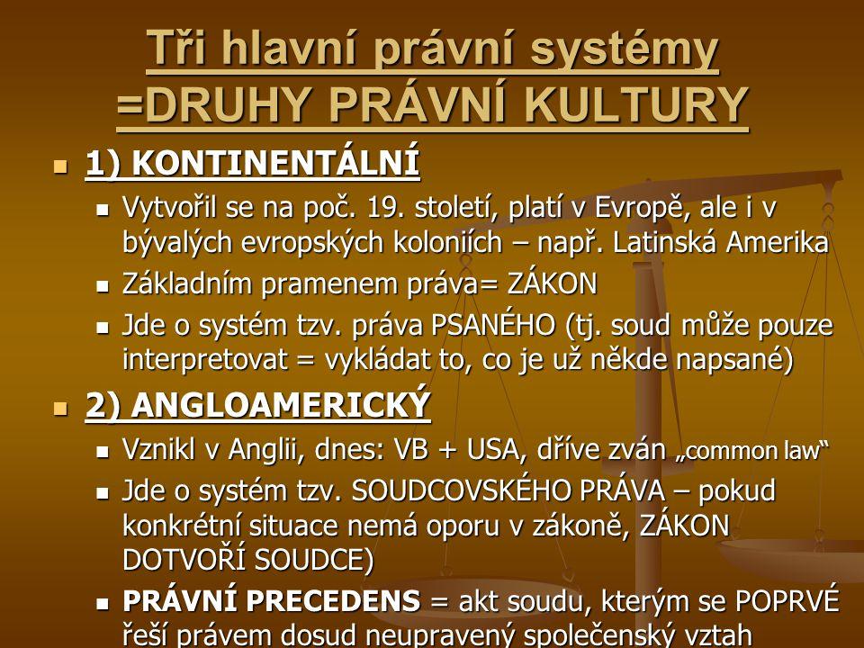 Tři hlavní právní systémy =DRUHY PRÁVNÍ KULTURY 1) KONTINENTÁLNÍ 1) KONTINENTÁLNÍ Vytvořil se na poč. 19. století, platí v Evropě, ale i v bývalých ev