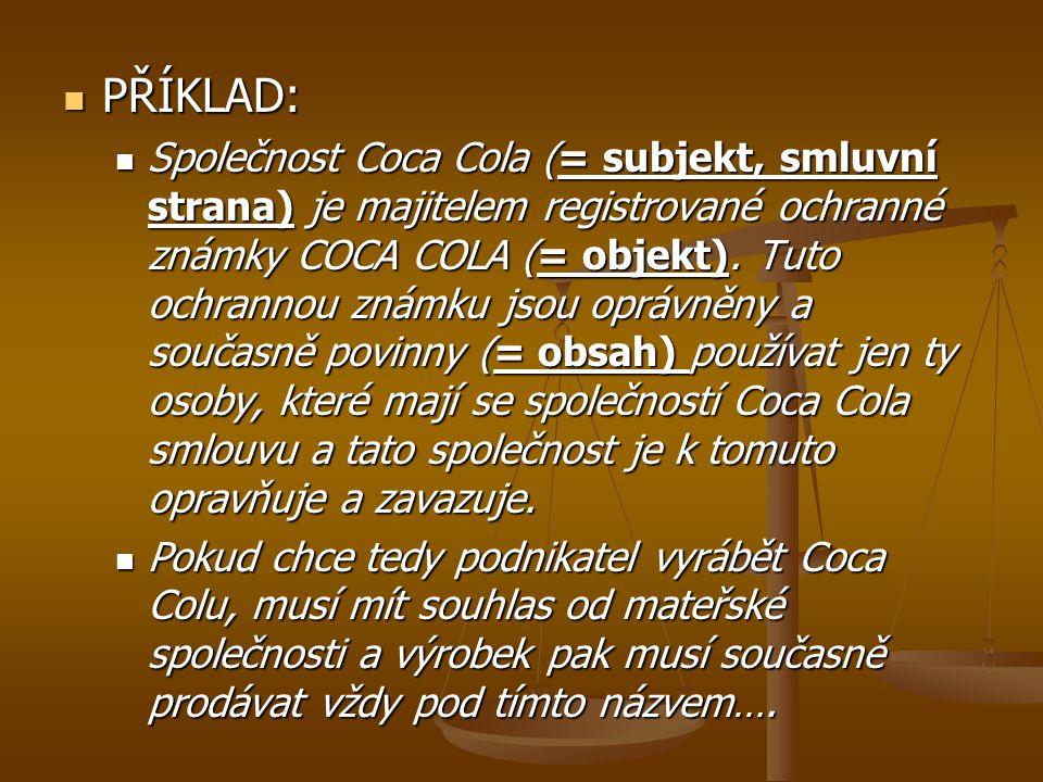 PŘÍKLAD: PŘÍKLAD: Společnost Coca Cola (= subjekt, smluvní strana) je majitelem registrované ochranné známky COCA COLA (= objekt). Tuto ochrannou znám