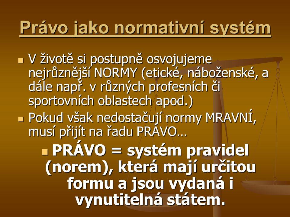 Právo jako normativní systém V životě si postupně osvojujeme nejrůznější NORMY (etické, náboženské, a dále např. v různých profesních či sportovních o