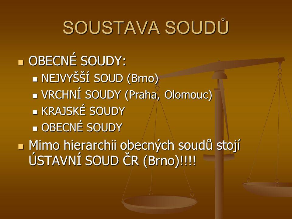 SOUSTAVA SOUDŮ OBECNÉ SOUDY: OBECNÉ SOUDY: NEJVYŠŠÍ SOUD (Brno) NEJVYŠŠÍ SOUD (Brno) VRCHNÍ SOUDY (Praha, Olomouc) VRCHNÍ SOUDY (Praha, Olomouc) KRAJS