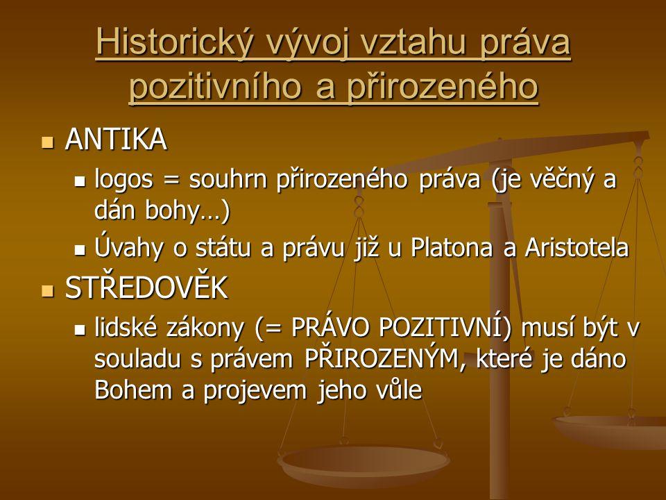 Historický vývoj vztahu práva pozitivního a přirozeného ANTIKA ANTIKA logos = souhrn přirozeného práva (je věčný a dán bohy…) logos = souhrn přirozené