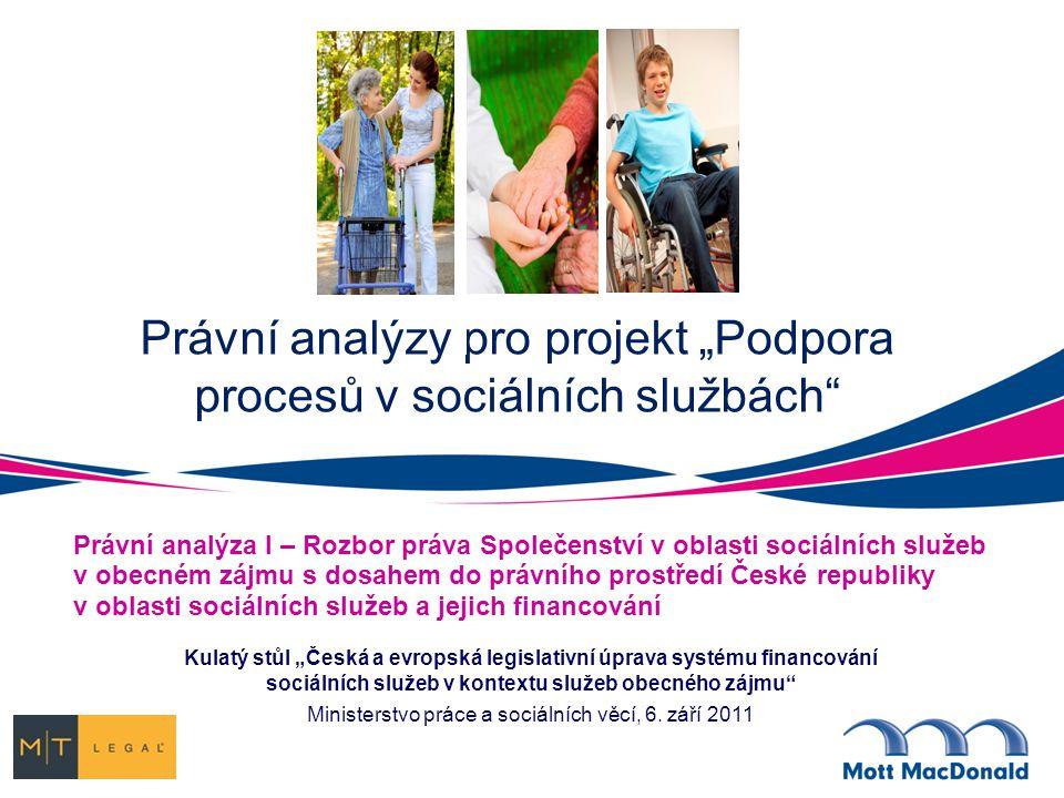 """Právní analýzy pro projekt """"Podpora procesů v sociálních službách"""" Právní analýza I – Rozbor práva Společenství v oblasti sociálních služeb v obecném"""