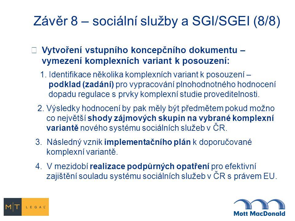 Závěr 8 – sociální služby a SGI/SGEI (8/8)  Vytvoření vstupního koncepčního dokumentu – vymezení komplexních variant k posouzení: 1. Identifikace něk