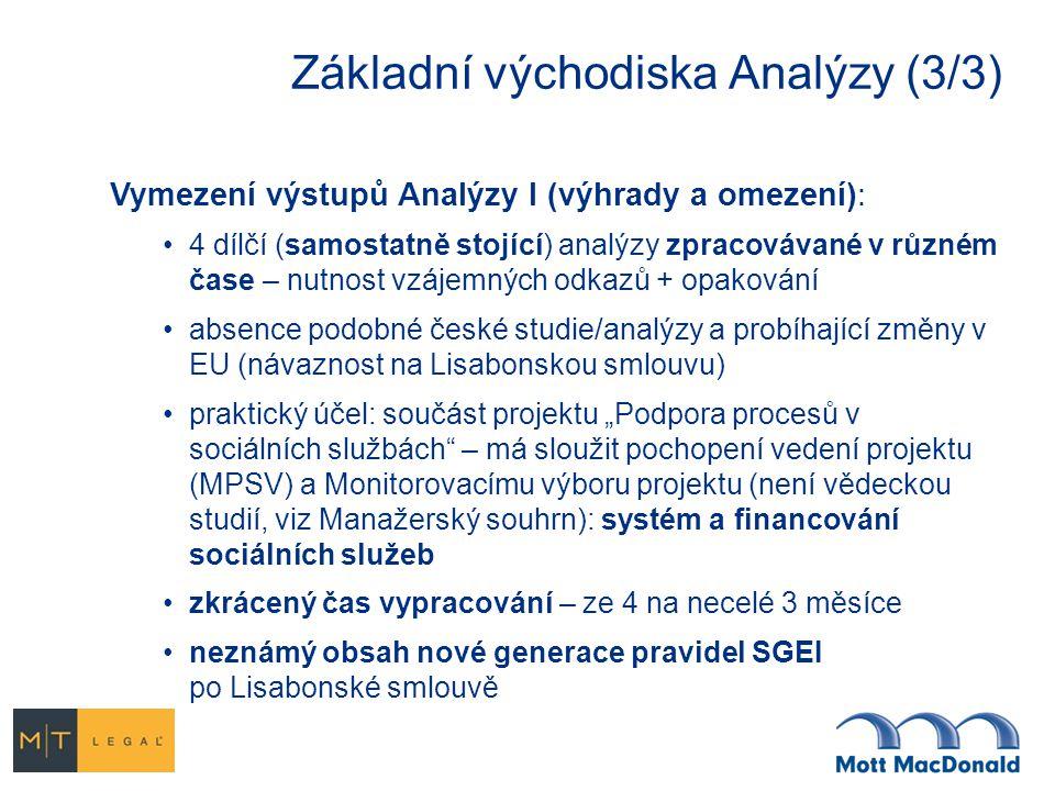 Základní východiska Analýzy (3/3) Vymezení výstupů Analýzy I (výhrady a omezení): 4 dílčí (samostatně stojící) analýzy zpracovávané v různém čase – nu