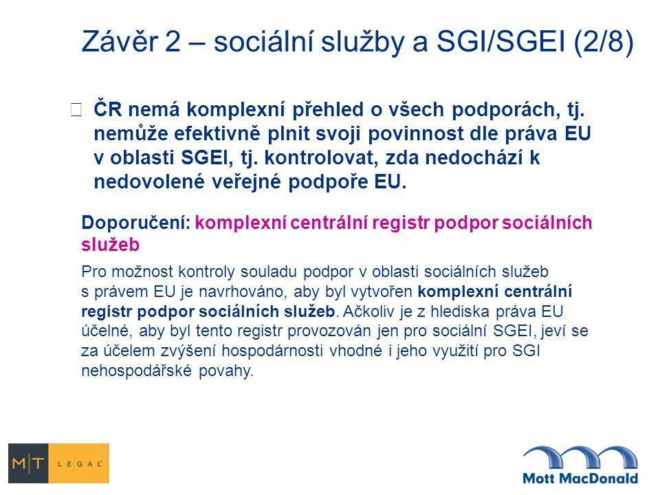 Závěr 2 – sociální služby a SGI/SGEI (2/8)  ČR nemá komplexní přehled o všech podporách, tj. nemůže efektivně plnit svoji povinnost dle práva EU v ob