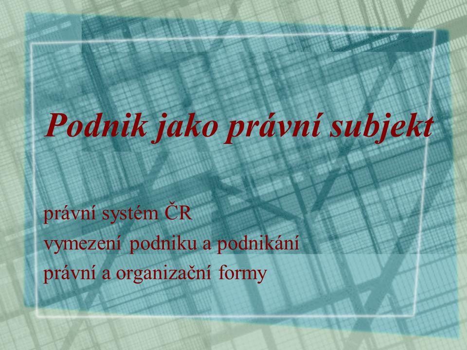 Podnik jako právní subjekt právní systém ČR vymezení podniku a podnikání právní a organizační formy