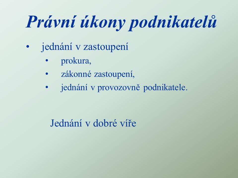 Právní úkony podnikatelů jednání v zastoupení prokura, zákonné zastoupení, jednání v provozovně podnikatele. Jednání v dobré víře