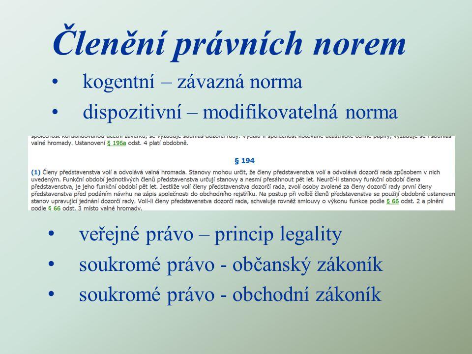 Členění právních norem kogentní – závazná norma dispozitivní – modifikovatelná norma veřejné právo – princip legality soukromé právo - občanský zákoní