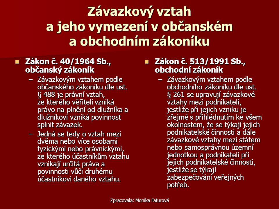 Zpracovala: Monika Faturová Závazkový vztah a jeho vymezení v občanském a obchodním zákoníku Zákon č.