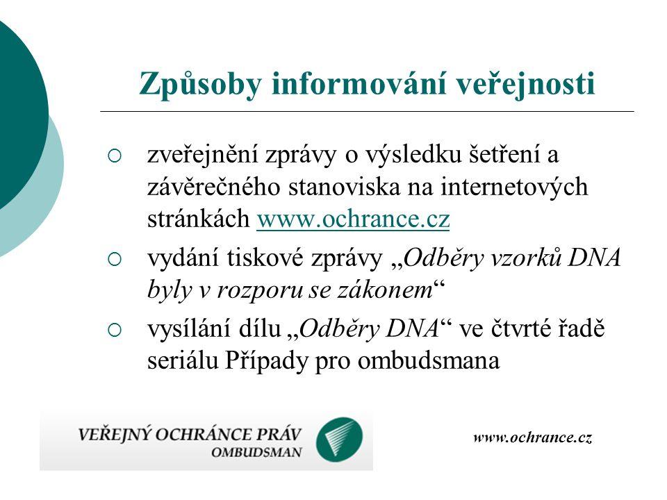 Způsoby informování veřejnosti  zveřejnění zprávy o výsledku šetření a závěrečného stanoviska na internetových stránkách www.ochrance.czwww.ochrance.