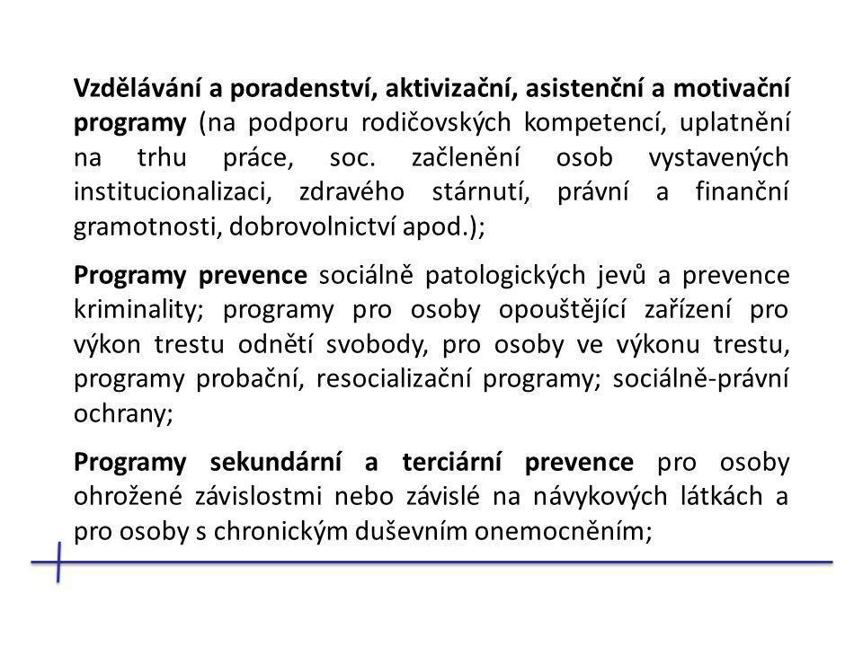 Vzdělávání a poradenství, aktivizační, asistenční a motivační programy (na podporu rodičovských kompetencí, uplatnění na trhu práce, soc.