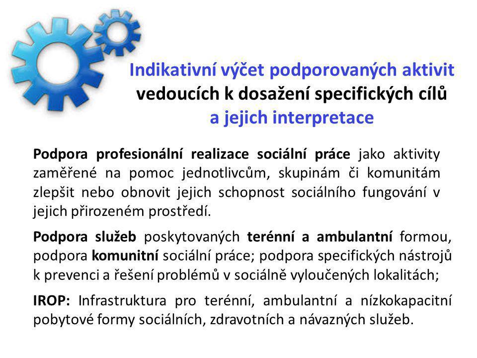 Indikativní výčet podporovaných aktivit vedoucích k dosažení specifických cílů a jejich interpretace Podpora služeb poskytovaných terénní a ambulantní formou, podpora komunitní sociální práce; podpora specifických nástrojů k prevenci a řešení problémů v sociálně vyloučených lokalitách; IROP: Infrastruktura pro terénní, ambulantní a nízkokapacitní pobytové formy sociálních, zdravotních a návazných služeb.