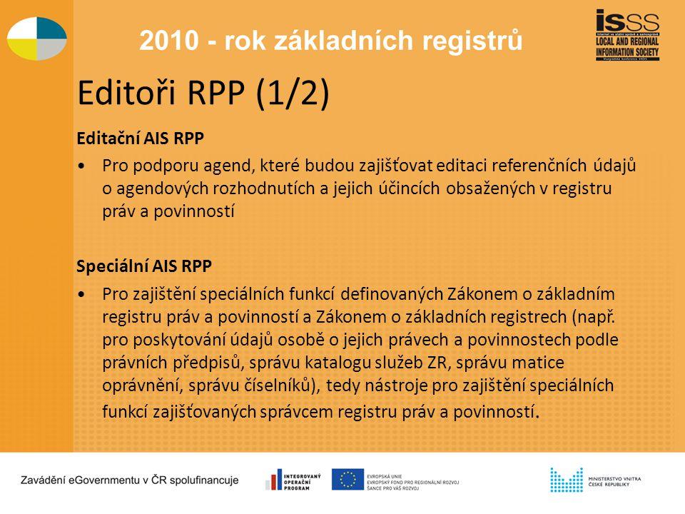 Editoři RPP (1/2) Editační AIS RPP Pro podporu agend, které budou zajišťovat editaci referenčních údajů o agendových rozhodnutích a jejich účincích obsažených v registru práv a povinností Speciální AIS RPP Pro zajištění speciálních funkcí definovaných Zákonem o základním registru práv a povinností a Zákonem o základních registrech (např.
