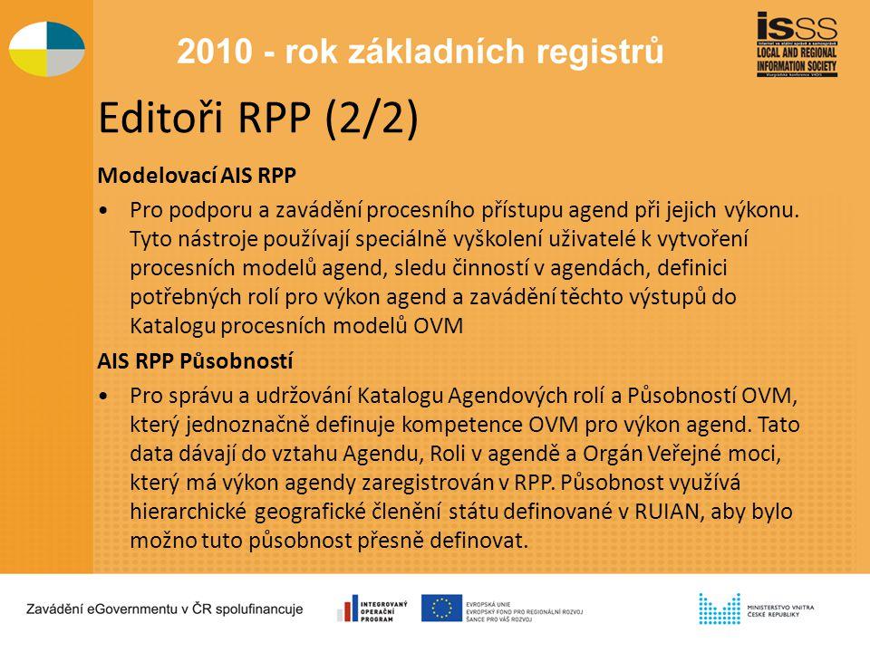 Editoři RPP (2/2) Modelovací AIS RPP Pro podporu a zavádění procesního přístupu agend při jejich výkonu.
