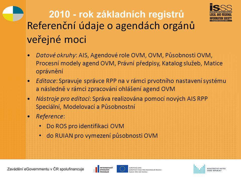 Referenční údaje o agendách orgánů veřejné moci Datové okruhy: AIS, Agendové role OVM, OVM, Působnosti OVM, Procesní modely agend OVM, Právní předpisy, Katalog služeb, Matice oprávnění Editace: Spravuje správce RPP na v rámci prvotního nastavení systému a následně v rámci zpracování ohlášení agend OVM Nástroje pro editaci: Správa realizována pomocí nových AIS RPP Speciální, Modelovací a Působnostní Reference: Do ROS pro identifikaci OVM do RUIAN pro vymezení působnosti OVM