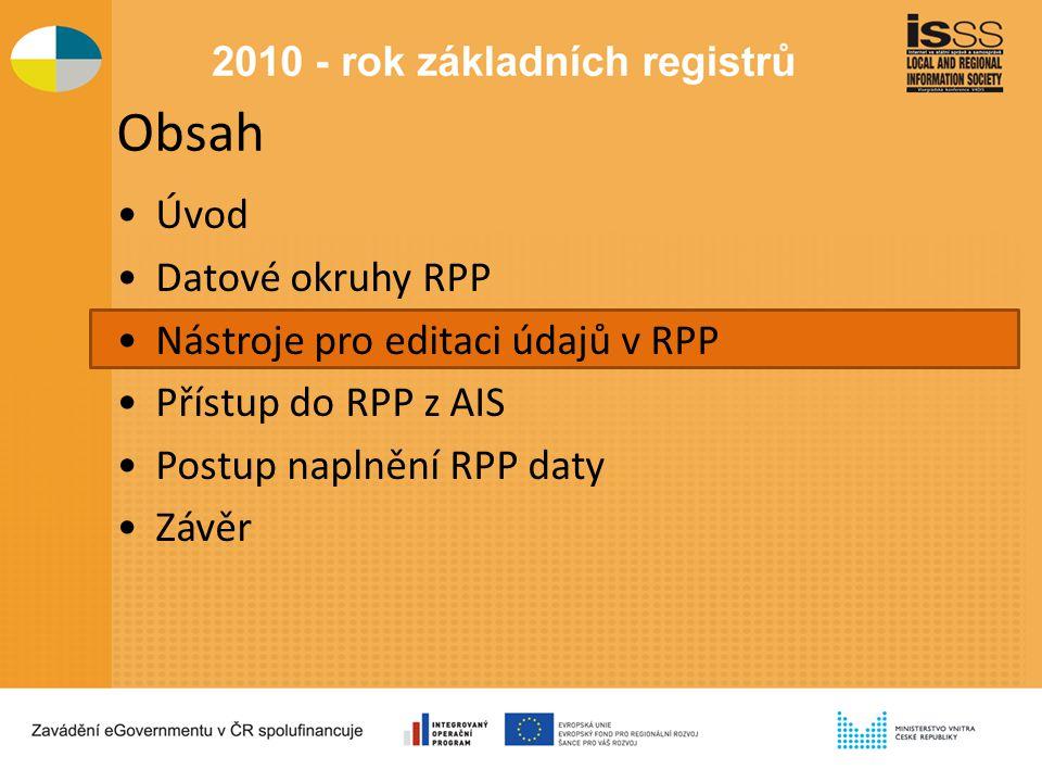 Obsah Úvod Datové okruhy RPP Nástroje pro editaci údajů v RPP Přístup do RPP z AIS Postup naplnění RPP daty Závěr
