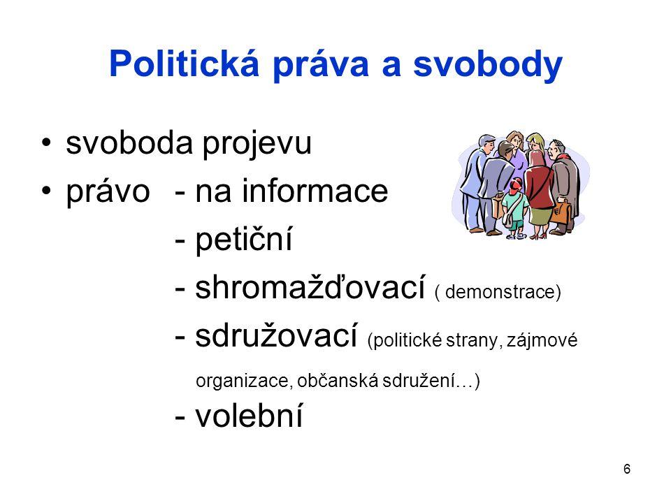 Politická práva a svobody svoboda projevu právo - na informace - petiční - shromažďovací ( demonstrace) - sdružovací (politické strany, zájmové organi