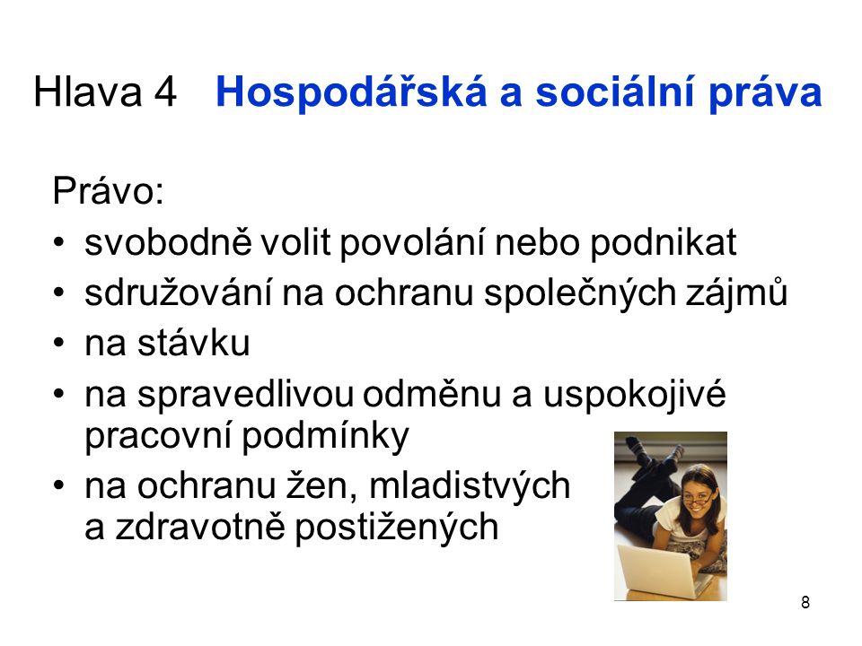 Hlava 4 Hospodářská a sociální práva Právo: svobodně volit povolání nebo podnikat sdružování na ochranu společných zájmů na stávku na spravedlivou odm