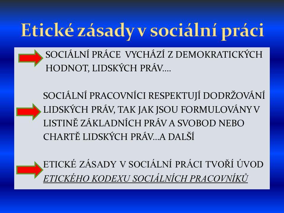 SOCIÁLNÍ PRÁCE VYCHÁZÍ Z DEMOKRATICKÝCH HODNOT, LIDSKÝCH PRÁV….
