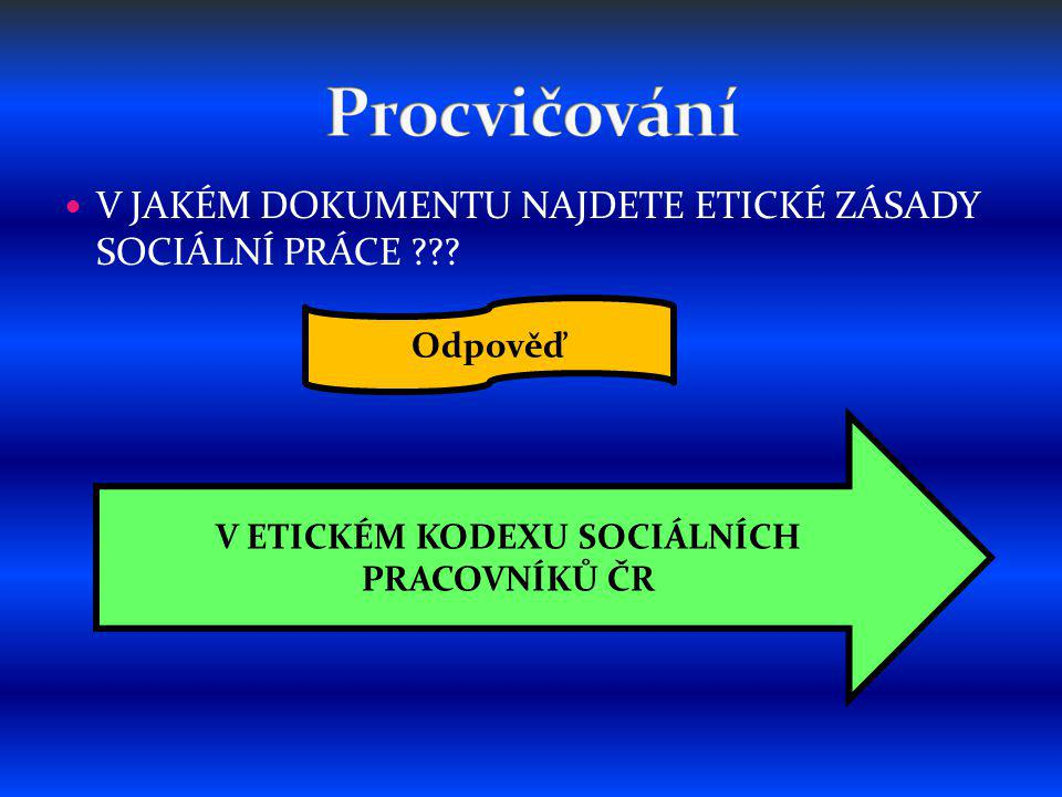 V JAKÉM DOKUMENTU NAJDETE ETICKÉ ZÁSADY SOCIÁLNÍ PRÁCE .