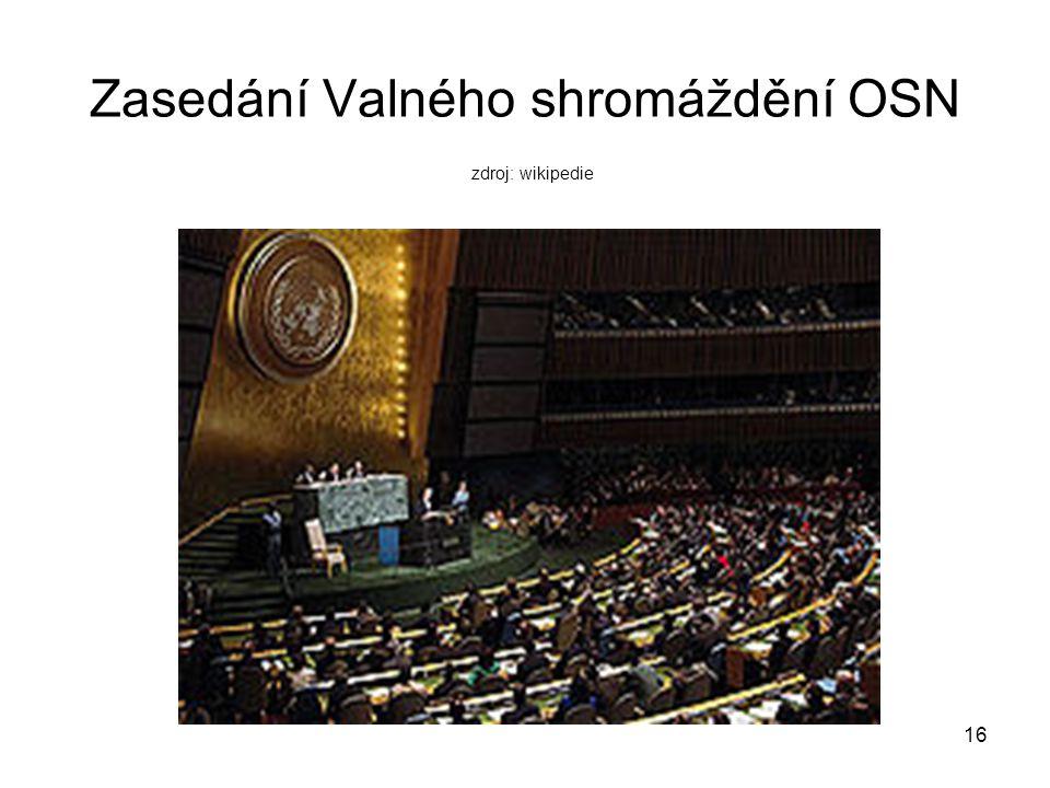 VALNÉ SHROMÁŽDĚNÍ OSN Valné shromáždění je nejvyšší orgán OSN.