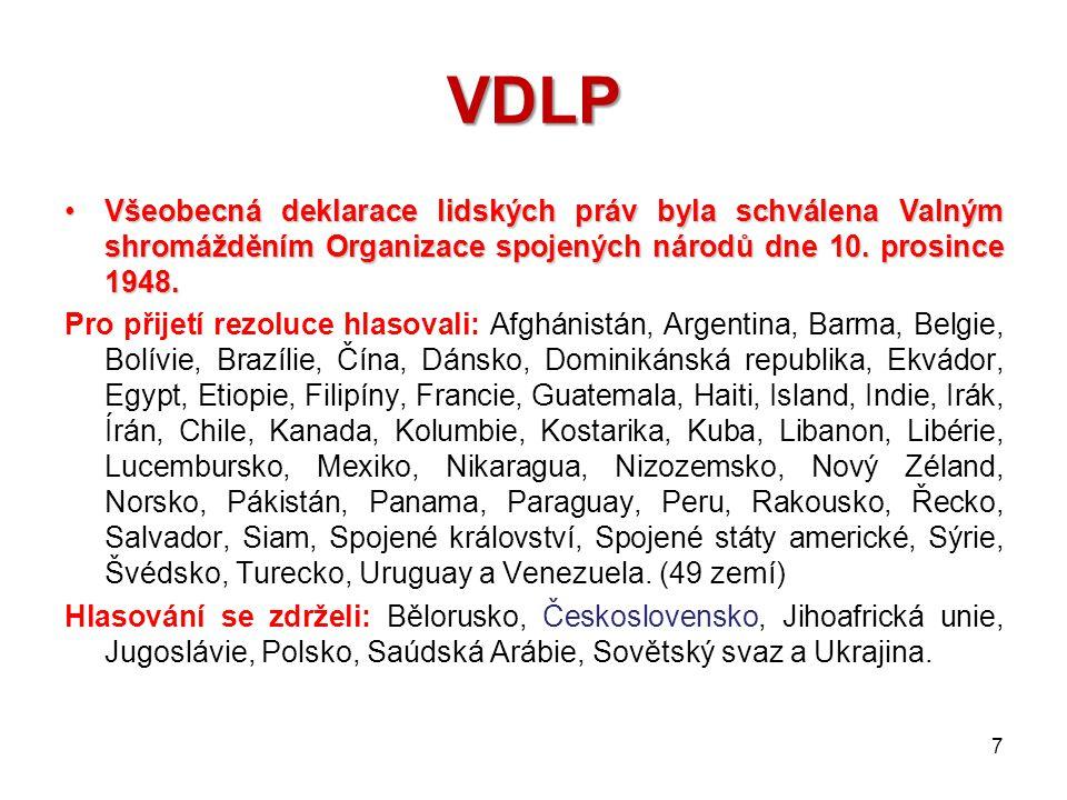 """VDLP VDLP Vdlp Všeobecná deklarace lidských práv je nezávazný dokument, obsahující nejznámější """"katalog lidských práv ."""