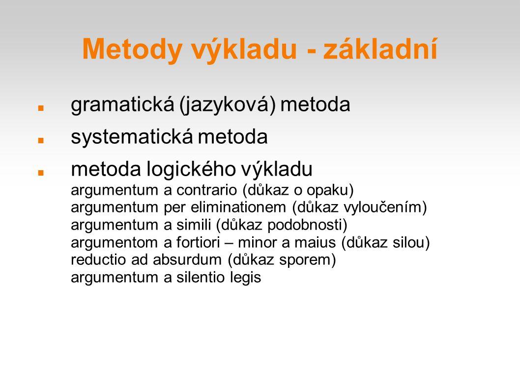 Metody výkladu - základní gramatická (jazyková) metoda systematická metoda metoda logického výkladu argumentum a contrario (důkaz o opaku) argumentum