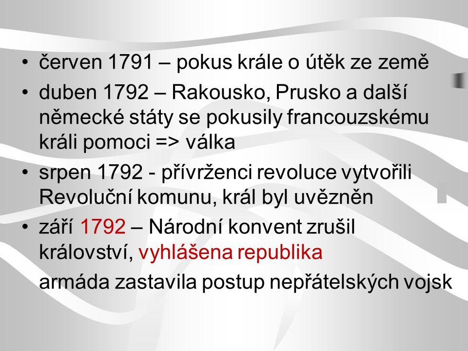 červen 1791 – pokus krále o útěk ze země duben 1792 – Rakousko, Prusko a další německé státy se pokusily francouzskému králi pomoci => válka srpen 179