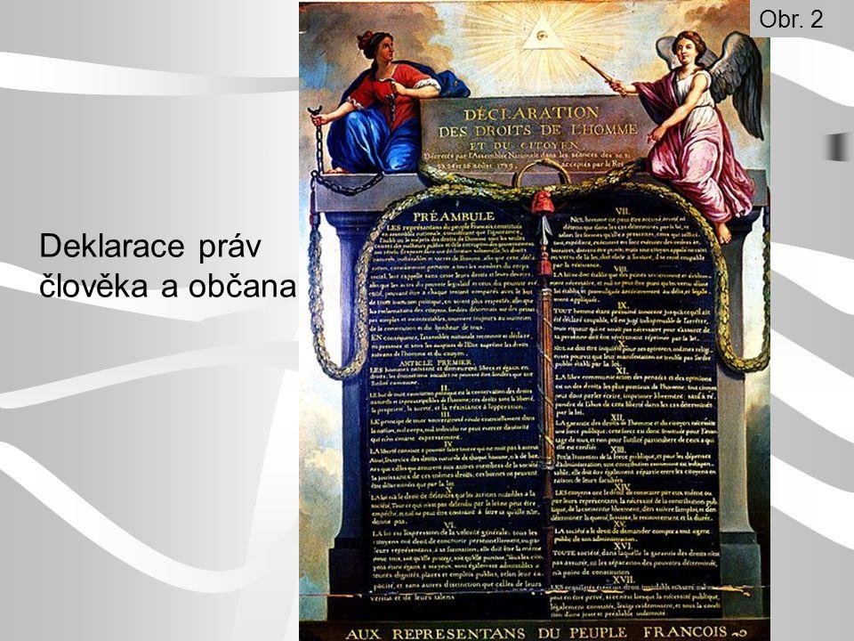 Přečti si v učebnici na str.30, které myšlenky obsahovala Deklarace práv člověka a občana.
