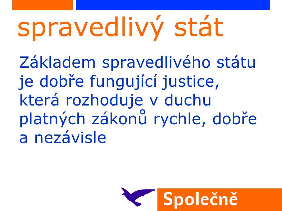 spravedlivý stát Základem spravedlivého státu je dobře fungující justice, která rozhoduje v duchu platných zákonů rychle, dobře a nezávisle