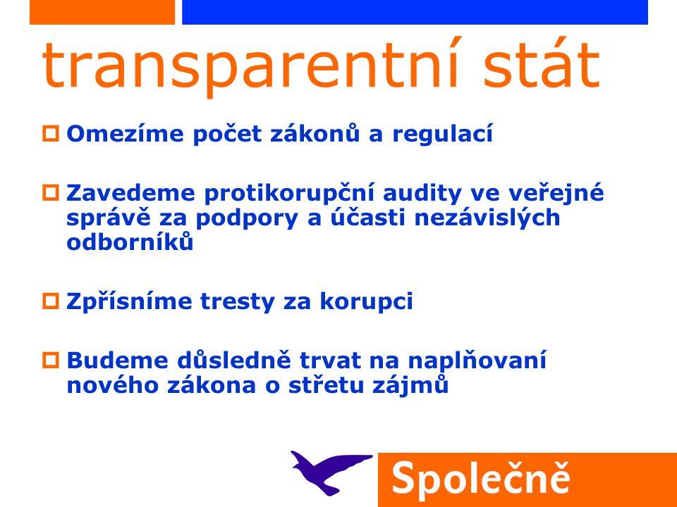 transparentní stát  Omezíme počet zákonů a regulací  Zavedeme protikorupční audity ve veřejné správě za podpory a účasti nezávislých odborníků  Zpř