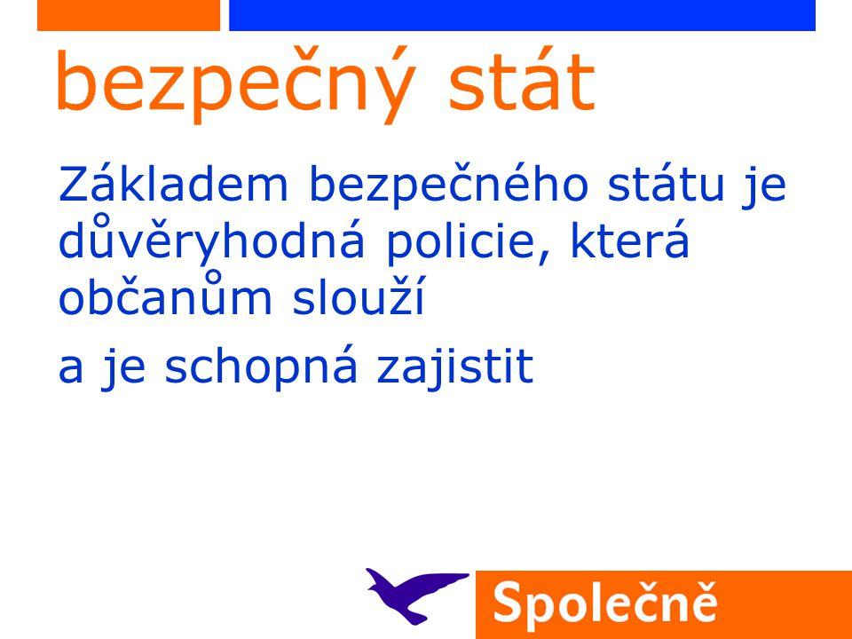 bezpečný stát Základem bezpečného státu je důvěryhodná policie, která občanům slouží a je schopná zajistit