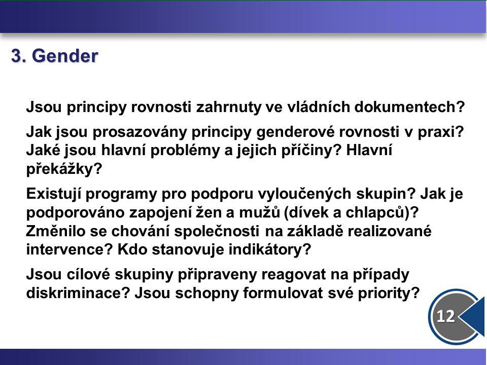12 3. Gender Jsou principy rovnosti zahrnuty ve vládních dokumentech? Jak jsou prosazovány principy genderové rovnosti v praxi? Jaké jsou hlavní probl