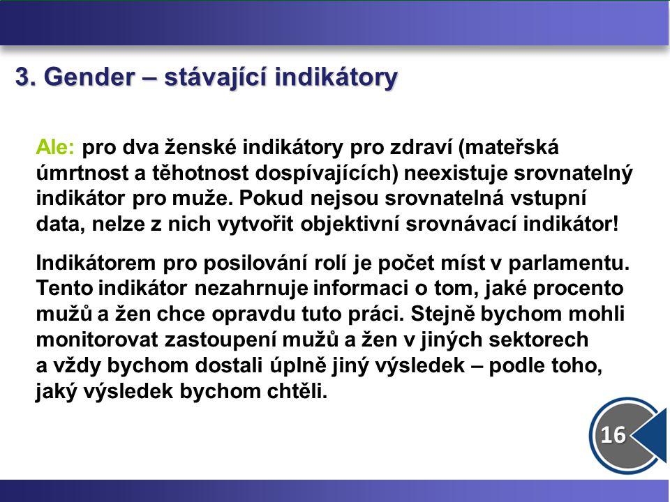 16 3. Gender – stávající indikátory Ale: pro dva ženské indikátory pro zdraví (mateřská úmrtnost a těhotnost dospívajících) neexistuje srovnatelný ind