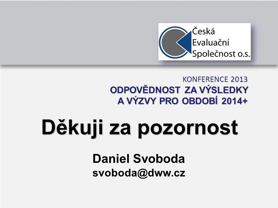 26 Děkuji za pozornost Daniel Svoboda svoboda@dww.cz KONFERENCE 2013 ODPOVĚDNOST ZA VÝSLEDKY A VÝZVY PRO OBDOBÍ 2014+