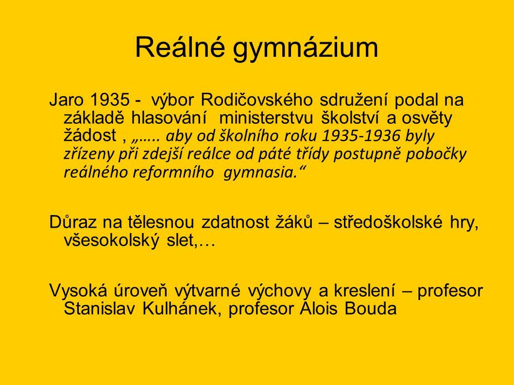 """Reálné gymnázium Jaro 1935 - výbor Rodičovského sdružení podal na základě hlasování ministerstvu školství a osvěty žádost, """"….."""