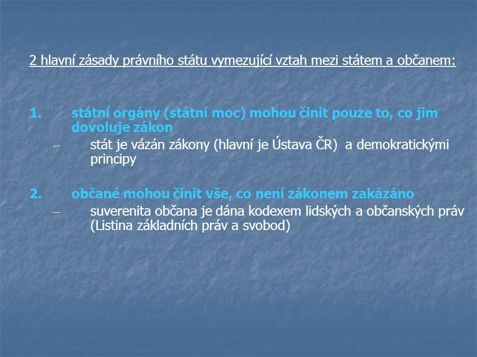 2 hlavní zásady právního státu vymezující vztah mezi státem a občanem: 1.