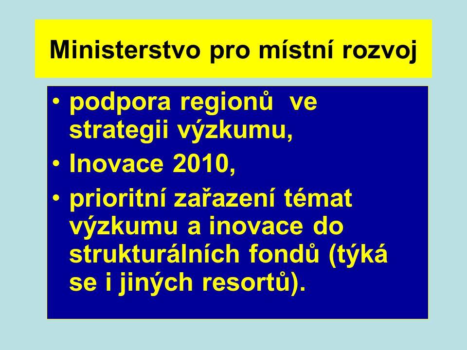 Ministerstvo pro místní rozvoj podpora regionů ve strategii výzkumu, Inovace 2010, prioritní zařazení témat výzkumu a inovace do strukturálních fondů