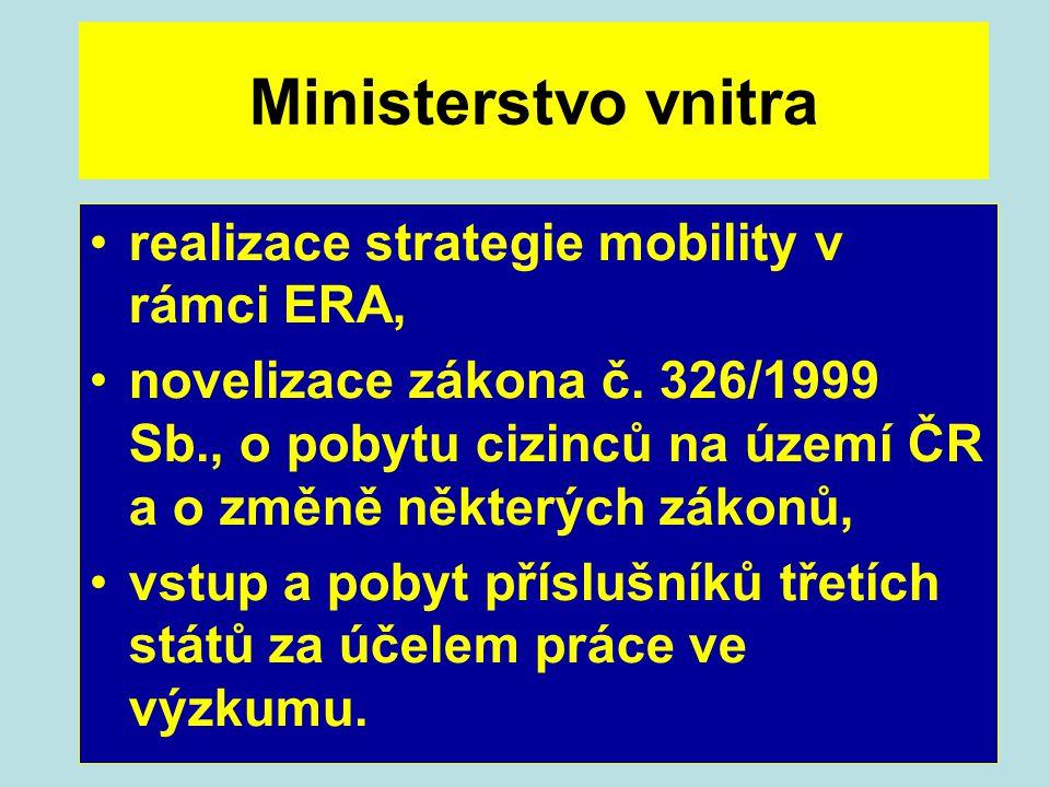 Ministerstvo vnitra realizace strategie mobility v rámci ERA, novelizace zákona č. 326/1999 Sb., o pobytu cizinců na území ČR a o změně některých záko