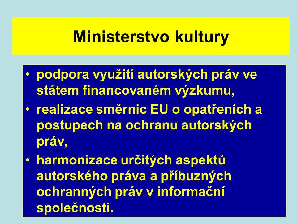 Ministerstvo kultury podpora využití autorských práv ve státem financovaném výzkumu, realizace směrnic EU o opatřeních a postupech na ochranu autorský